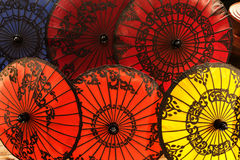 Colorful paper umbrellas Stock Image