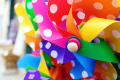 Colorful paper windmil close up with soft focus Stock Photo