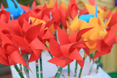 Colorful paper windmill. Royalty Free Stock Images