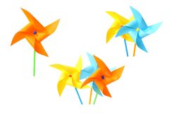 Colorful paper windmill pinwheels Stock Photo