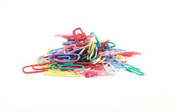 Colorful paperclips. Isolated on white background stock image