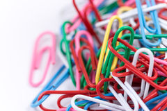 Colorful paperclips in closeup macro studio shot royalty free stock photography
