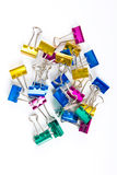 Colorful paperclips on white Royalty Free Stock Photos