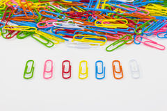 Colorful paperclips on white background isolated Stock Photo
