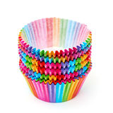Colorful Papers Cup for Baking Cakes Stock Photos