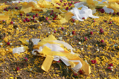 Colorful papers and petals for decorating the Chinese ancestor's grave Stock Photos