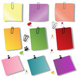 Colorful papers with pin Royalty Free Stock Image