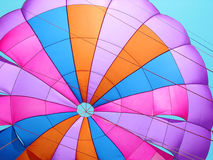 Colorful Parachute. A colorful parachute ready for its take-off in the windy atmosphere Stock Photos