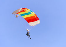 Colorful parachute. Against clear sky in background Royalty Free Stock Images