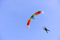 Colorful parachute. Against clear sky in background Royalty Free Stock Photos