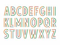 Colorful parallel lines font. Striped letters on white background. Maybe used for posters and headers Stock Photography