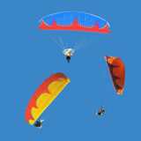 Colorful paramotor. Group of colorful paramotor with fire texture on wing Stock Image