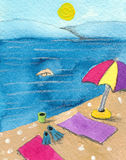 Colorful parasol on the beach. Acrylic illustration of colorful parasol on the beach stock illustration