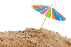 Colorful parasol at the beach Stock Images