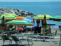 Colorful parasol on the beach Stock Photo