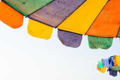 Colorful parasol on the beach. At sunny day Stock Image