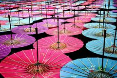 The colorful parasol stock image
