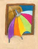 Colorful parasol peeping through the window. Acrylic illustration of colorful parasol peeping through the window Royalty Free Stock Image