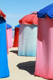 Colorful parasols on beach Royalty Free Stock Images