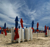 Colorful Parasols on Deauville Beach, France Royalty Free Stock Image