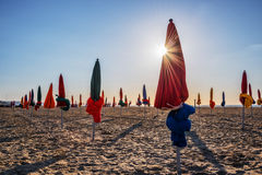 Colorful parasols on Deauville beach Royalty Free Stock Photography