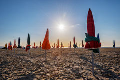 Colorful parasols on Deauville beach, France Royalty Free Stock Images