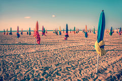 Colorful parasols on Deauville beach, France Stock Photos