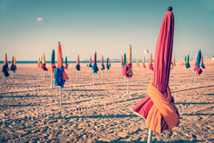 Colorful parasols on Deauville beach, France Stock Photography