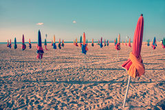 Colorful parasols on Deauville beach, France Royalty Free Stock Photos
