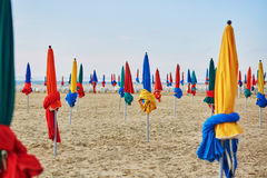 Colorful parasols on Deauville Beach, Normandy, France Stock Image