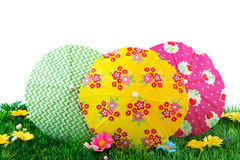 Colorful parasols in the grass Royalty Free Stock Images