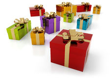 Colorful parcels with golden ribbon Stock Images
