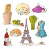 Colorful Paris Elements Set Stock Photography