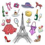 Colorful paris fashion sketch collection royalty free illustration