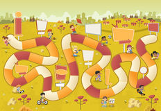 Colorful park with cartoon children playing over a board game vector illustration