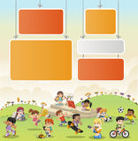 Colorful park with cartoon children playing. Sports and toys vector illustration