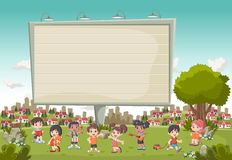 Colorful park in the city with a big billboard and cartoon children playing. Stock Photo