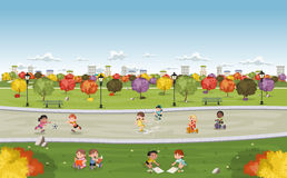 Colorful park in the city with cute cartoon kids playing. Stock Image