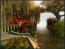 Colorful park scenery. Park scenery with a shallow brook and flowers Royalty Free Stock Photos