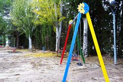 Colorful park in winter time royalty free stock image