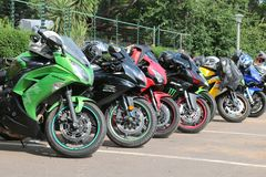 Colorful Parked motorbikes at Yearly Mass Ride Stock Photography