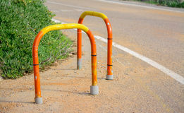 Colorful parking bollards Royalty Free Stock Photo