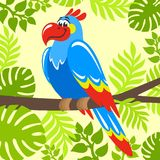 Colorful parrot with blue feathers sits on a branch. vector illustration