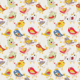 Colorful parrots in jungle. funny seamless pattern stock illustration