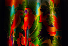 Colorful parrots. In the jungle painted on the wall Stock Image