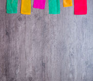 Colorful part of korean dress on wood background Royalty Free Stock Photography
