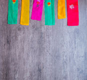 Colorful part of korean dress on wood background Stock Photos