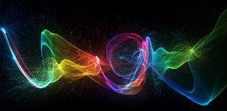 Colorful particle waves abstract background. Hand draw particles with vivid colors Royalty Free Stock Image