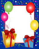 Colorful party background with balloons and presen. Illustration of a colorful party background with balloons and presents Stock Photography