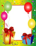 Colorful party background with balloons and presen Royalty Free Stock Photo